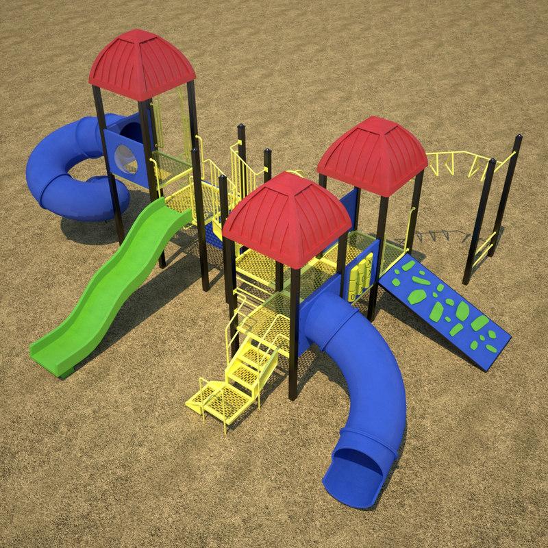 3d model outdoor playground equipment ground