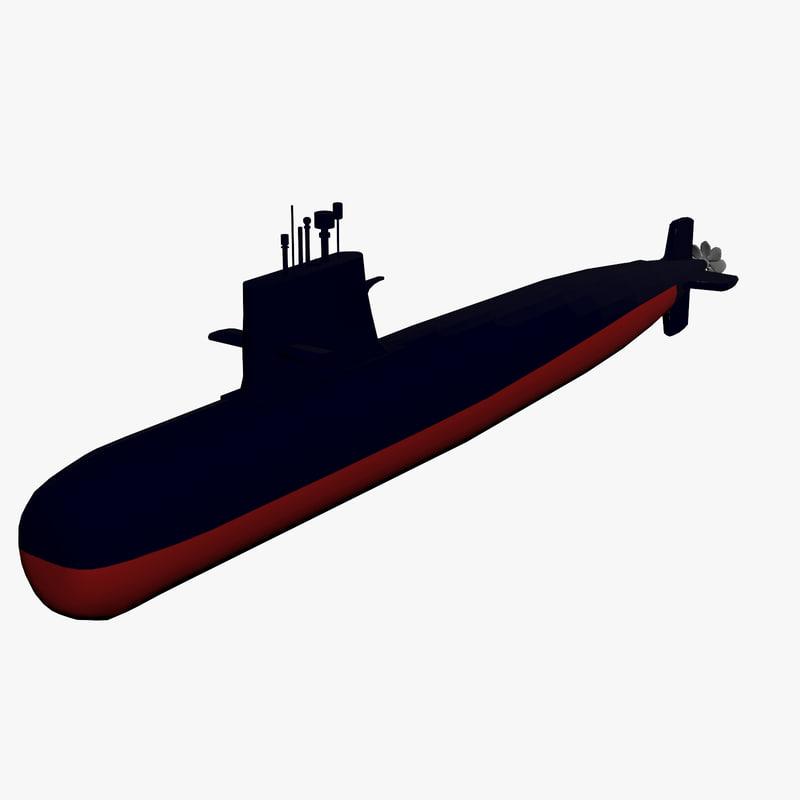 3d submarine type 039 model