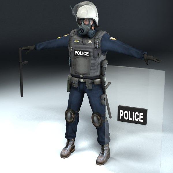 riot police officer 3d max