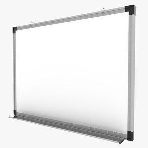 3d model white magnetic board