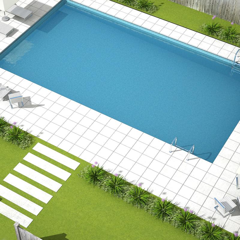 Swimming Pool Garden 3d Model