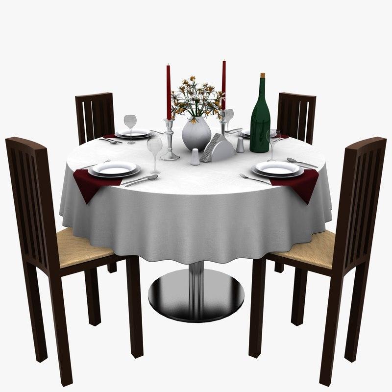 3d table restaurant model