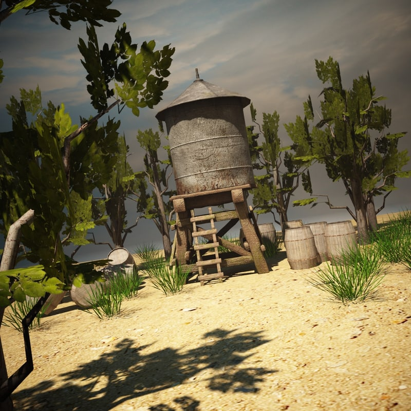 3d water tower environment model