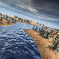 3ds max mountain landscape river
