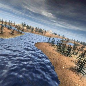 3ds max mountain landscape river