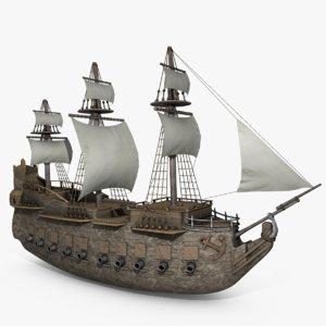 obj old pirate medieval ship