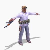 3d model of islamic insurgent rigged