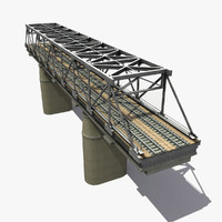 bridge railway rail 3d model