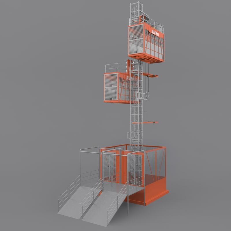 3d model rigged hoists materials