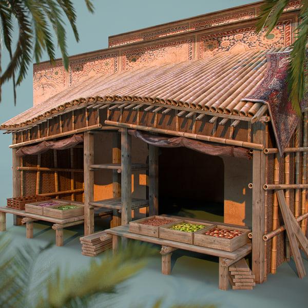 3d indian bamboo vegetable kiosk model