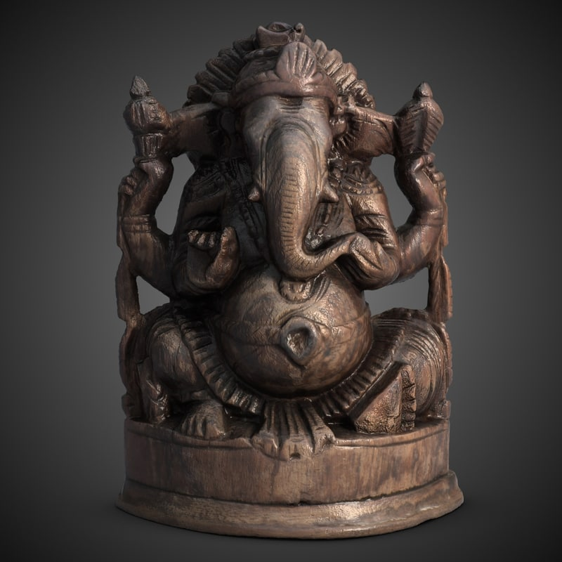 3d ganesha statuette india model