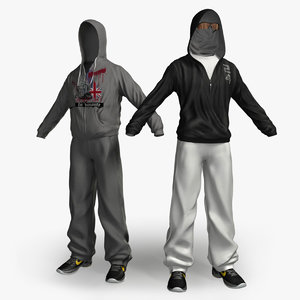 sportswear hoody sports trousers 3d model