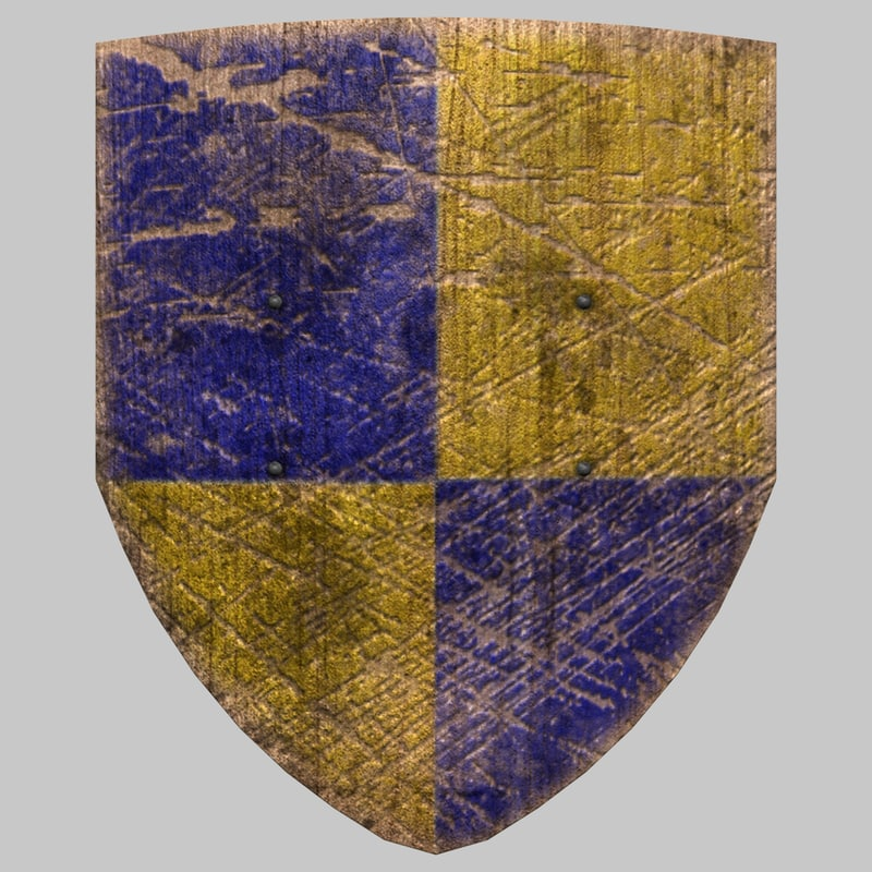 torn knight shield 3d model