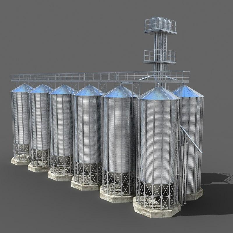 silo scene 3d model