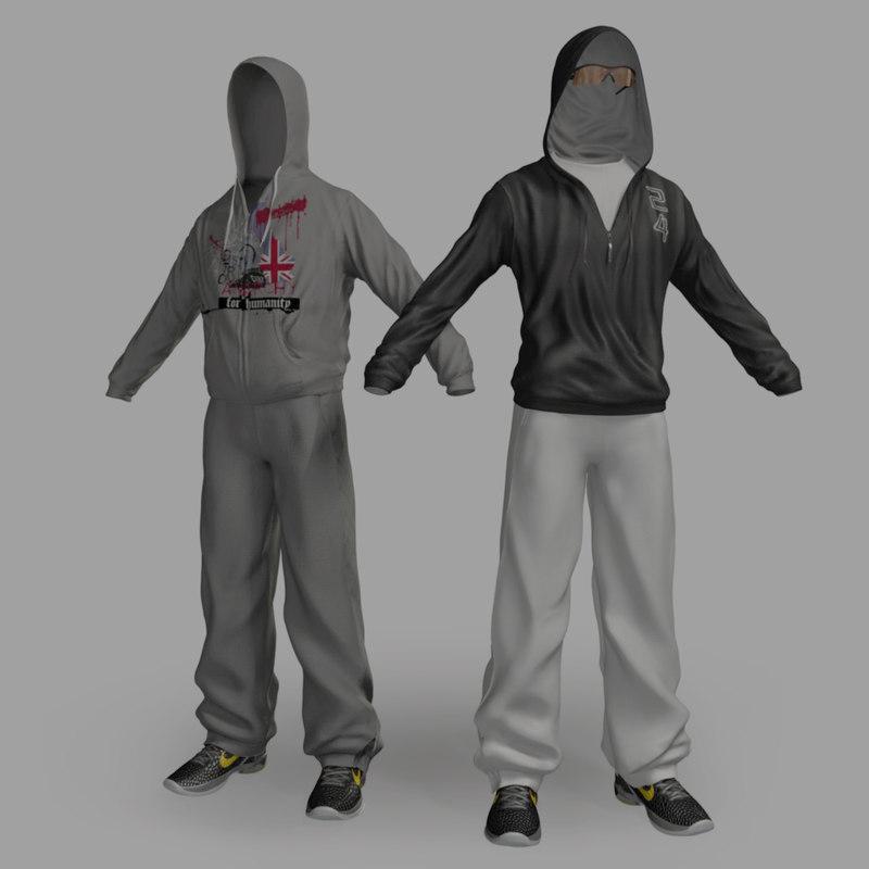 sportswear hoody sports trousers 3d model