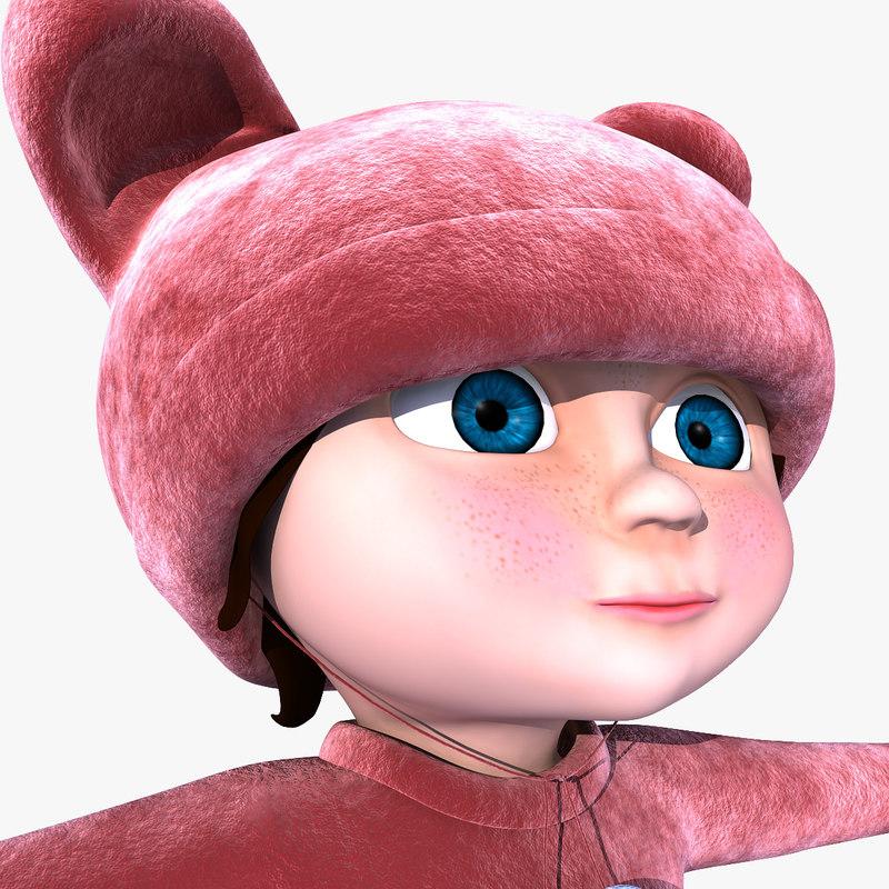 maya little girl rigged