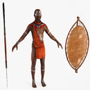 african warrior 3D models