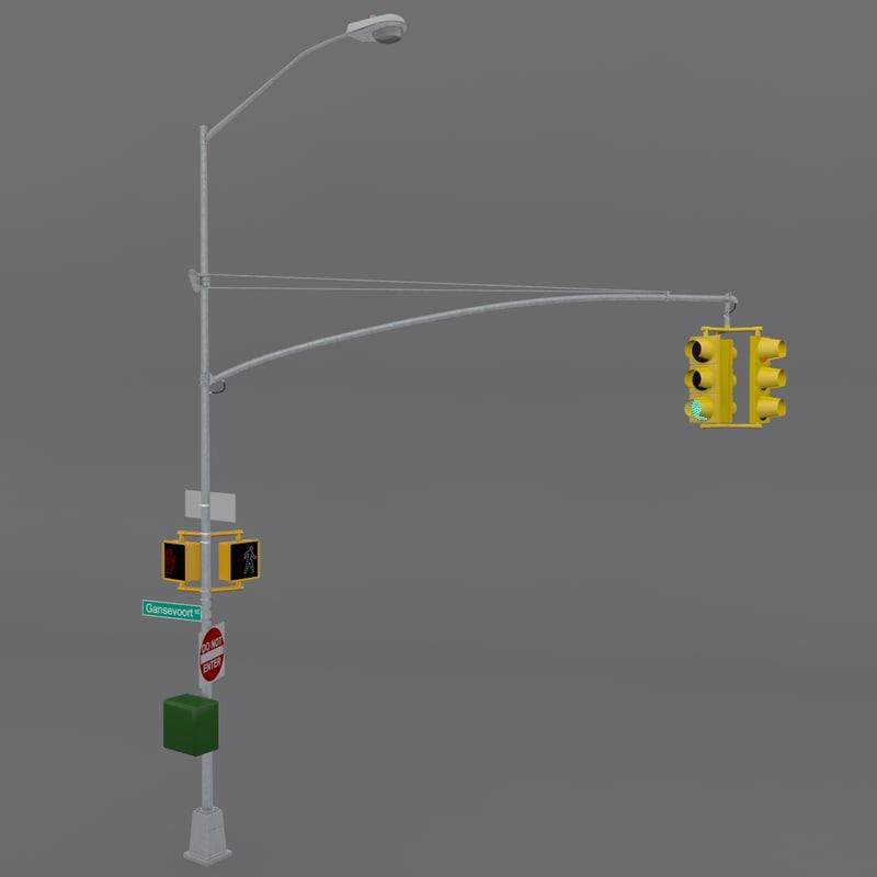 3d new york street light