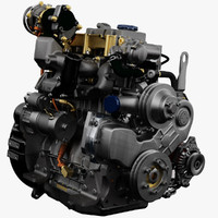 diesel truck engine 3d model