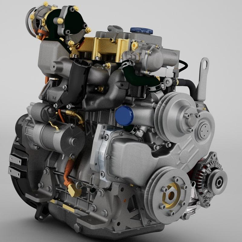 diesel truck engine 3d model