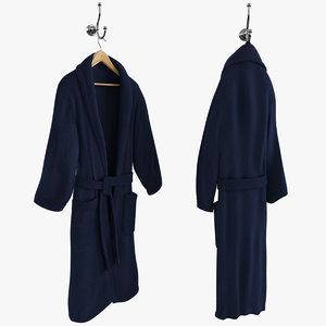 3d model blue bathrobe hanger hook