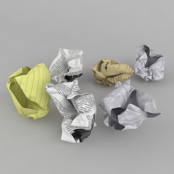 3d model of crumpled balls paper