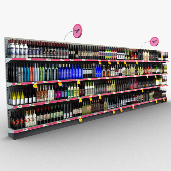 retail store shelves - 3d model