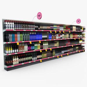 retail store shelves - 3d model