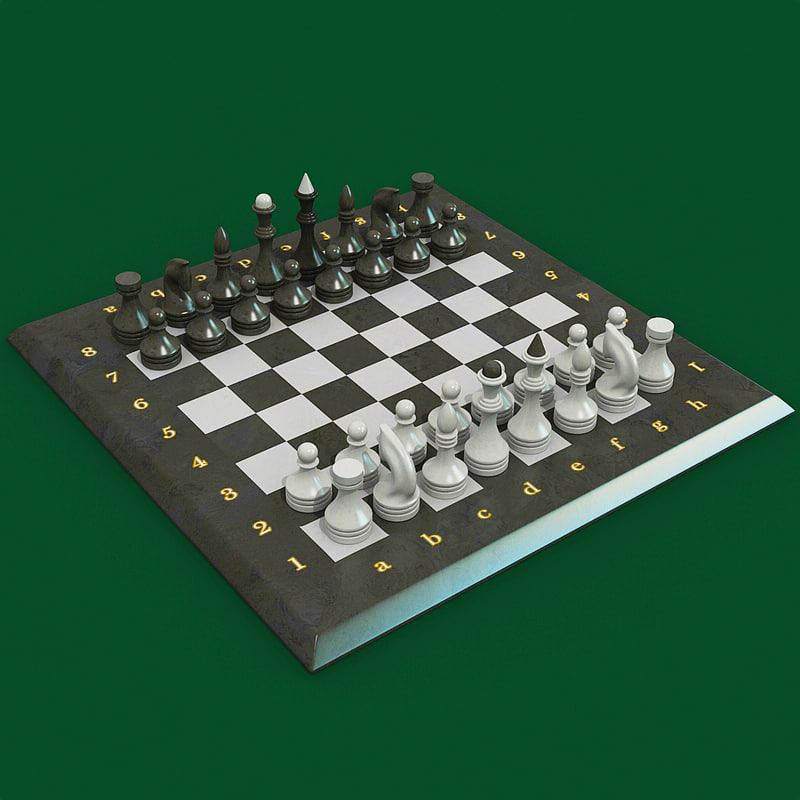 stone chess set 3d model