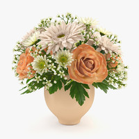 bouquet roses chrysanthemum 3d model