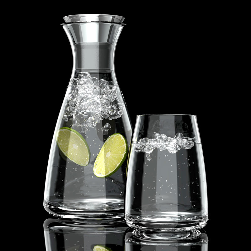 3d obj carafe glass water