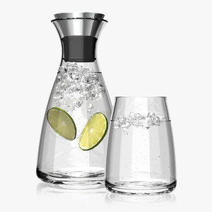 3d obj carafe glass water