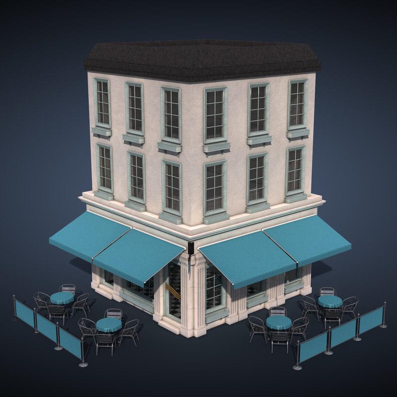 3d c4d cafe building exterior