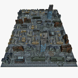 destroyed town 3d model