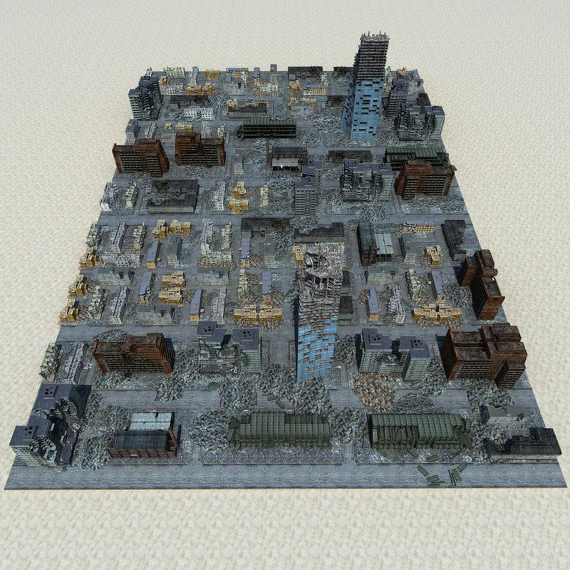 destroyed town 3d model