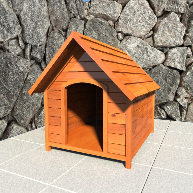 3d wooden doghouse
