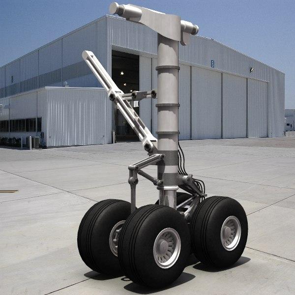 3d rigged landing gear heavy model