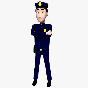 3d rigged policeman cartoon model