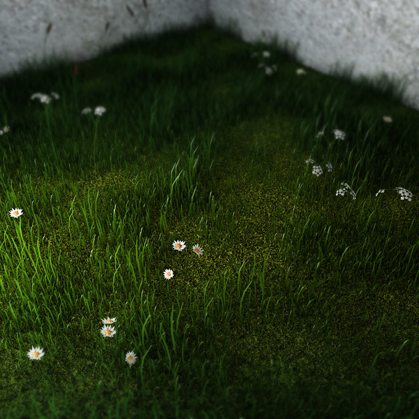 3d green grass small flowers