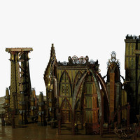 jules verne style futuristic city 3d model