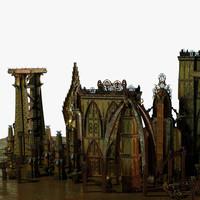Jules Verne Style Futuristic City