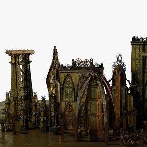 jules verne style futuristic city 3d model