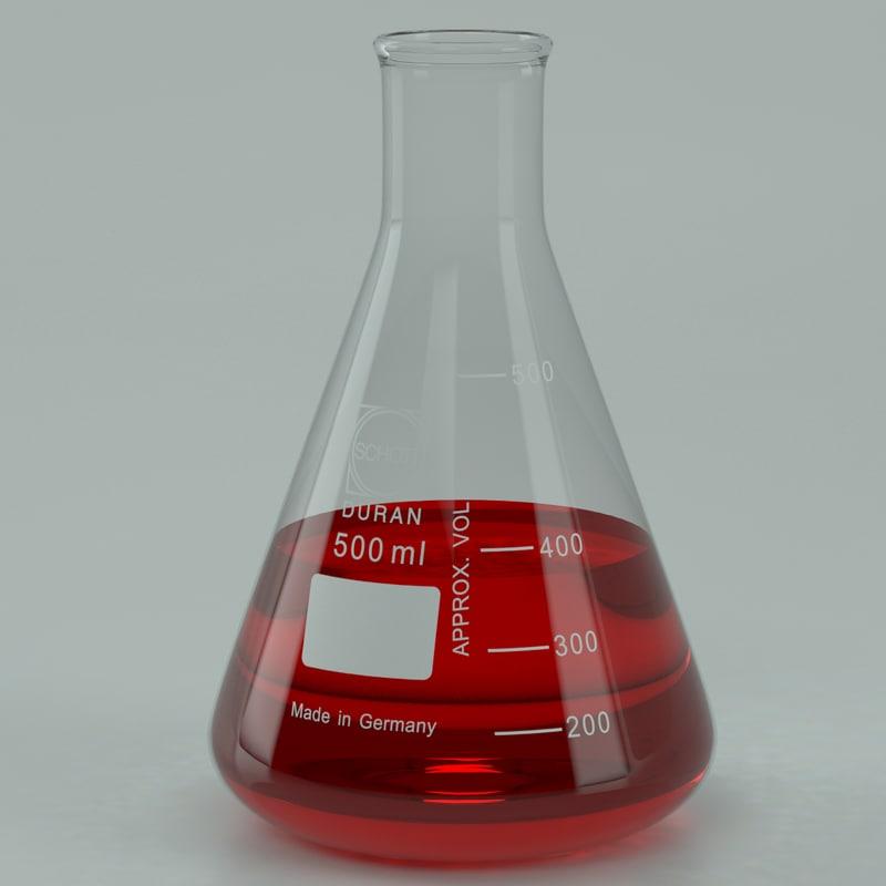 erlenmeyer 500 ml lab 3d max
