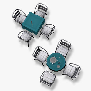 cinema4d cafe tables chairs set