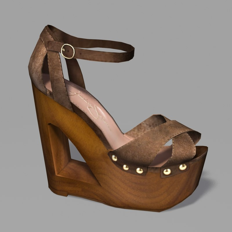 3ds female heel wood