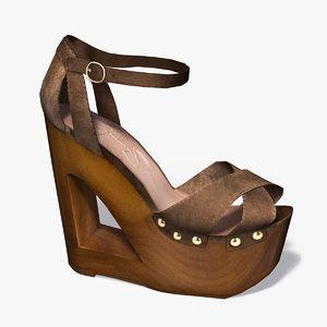 3ds female heel wood