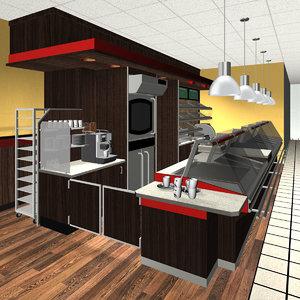 3d model bakery cafe shopping centre