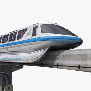 3ds max modern monorail train