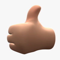 cartoon hand thumbs 3d obj