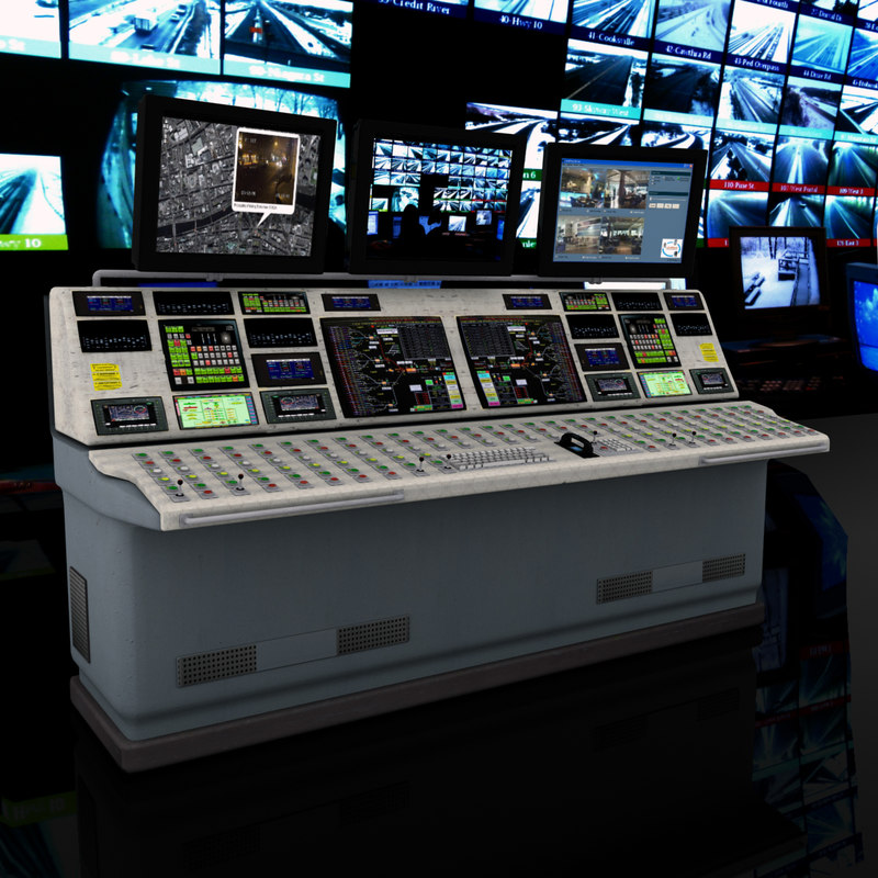 Control desk 3d 3ds for Futuristic control room